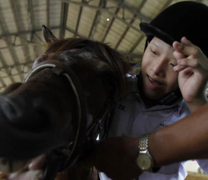 An autistic child plays with a horse during the Horse Therapy Special Children program