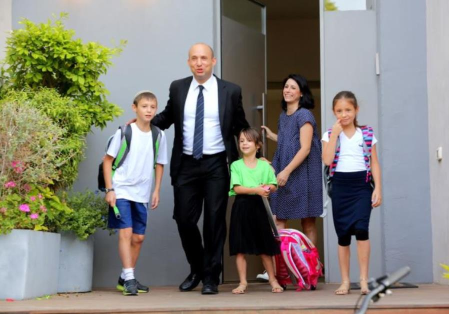 Education Minister Naftali Bennett with his family on the first day of school, September 1, 2015