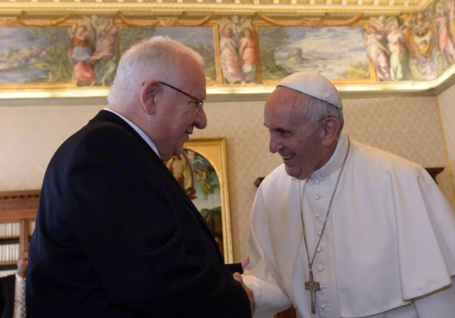 President Reuven Rivlin meets with Pope Francis for an official state visit at  at the Vatican, Sept