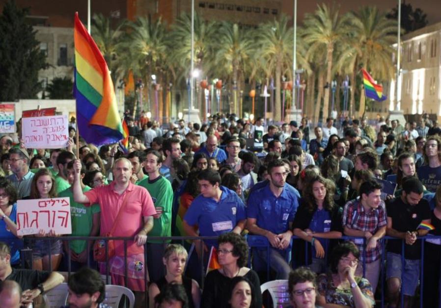 Hundreds attend a pro-gay rights rally in Jerusalem