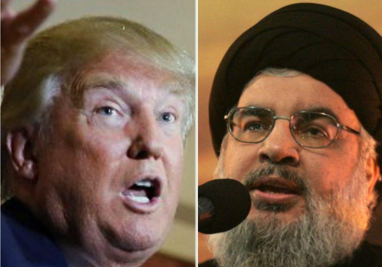 GOP presidential hopeful Donald Trump (L) and Hezbollah secretary-general Hassan Nasrallah