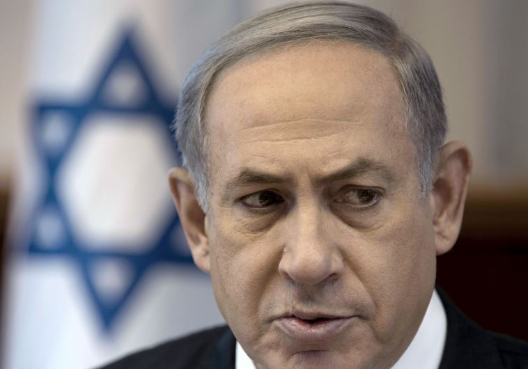 Prime Minister Benjamin Netanyahu attends the weekly cabinet meeting at his office in Jerusalem