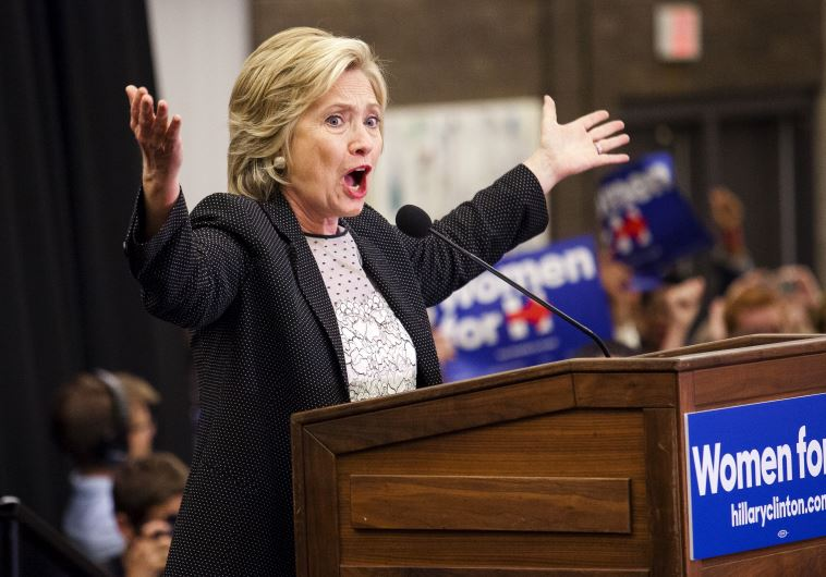 "Democratic presidential candidate Hillary Clinton speaks at a ""Women for Hillary"" meeting"