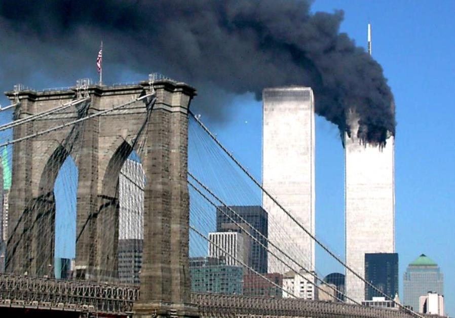 The World Trade Center burns after being hit by a plane in New York on September 11, 2001
