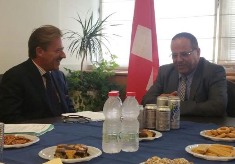 Switzerland's ambassador to Israel Andreas Baum (Left) and Likud Deputy Minister Ayoub Kara, Septemb