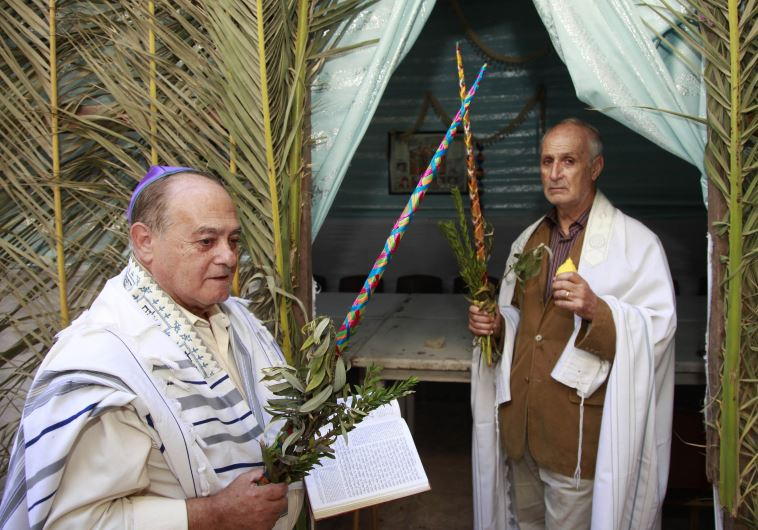 Moroccan Jews hold willows as they celebrate the festival of Succot in a synagogue in Rabat