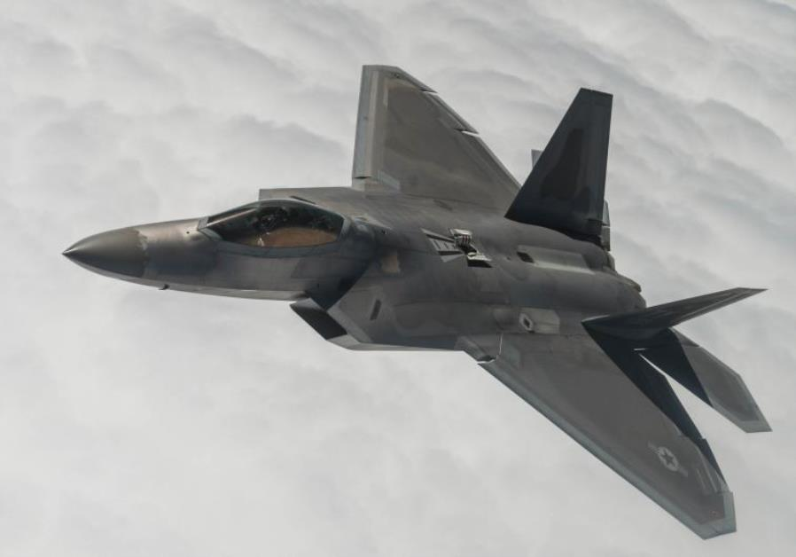 An F-22A Raptor flies a training sortie over Nevada