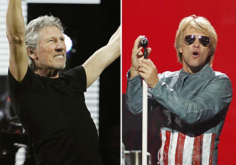 Pink Floyd rocker Roger Waters (L) and Jon Bon Jovi