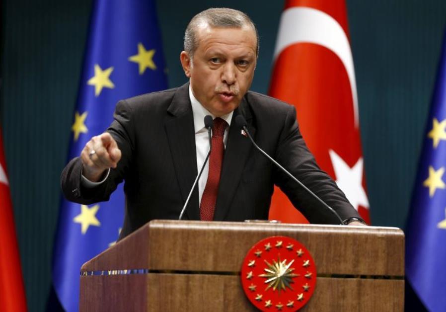 Turkish President Recep Tayyip Erdogan speaks during a news conference in Ankara