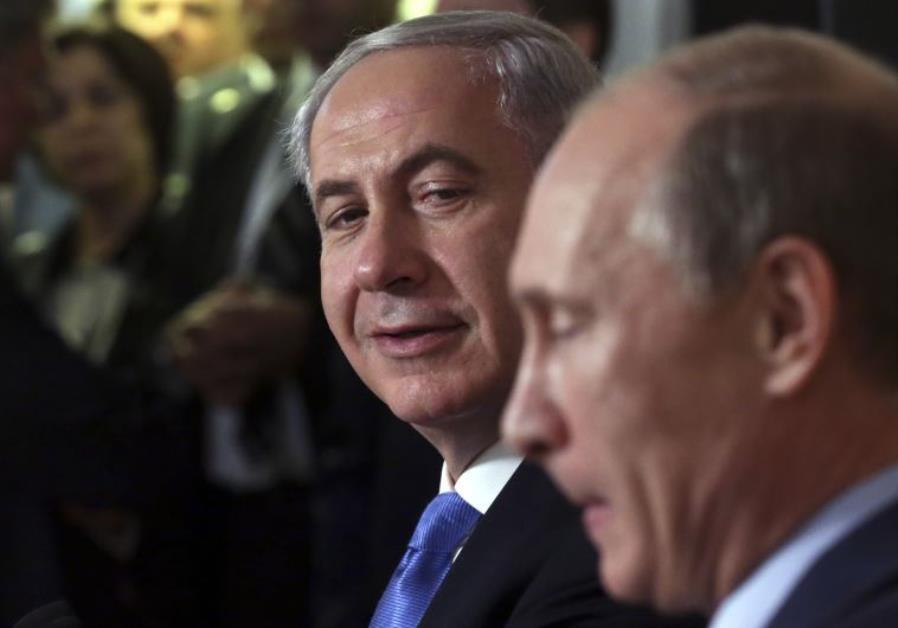 Russian President Vladimir Putin (R) and Prime Minister Benjamin Netanyahu