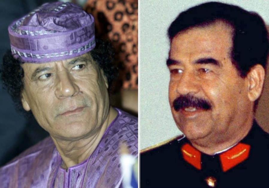 Deposed dictators Muammar Gaddafi of Libya (L) and Saddam Hussein of Iraq