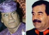 Deposed dictators Muammar Gaddafi of Libya (L) and Saddam Hussein of Iraq
