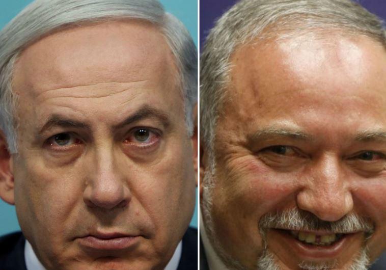 Prime Minister Benjamin Netanyahu (L) and Yisrael Beytenu chief Avigdor Liberman