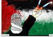 "Cartoon on Facebook page of news portal ""Palestine Now"" shows Palestinian making victory sign with h"