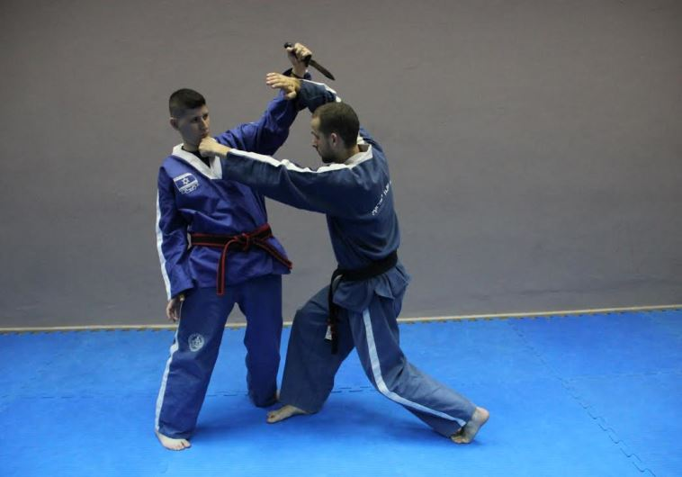 Senior Israeli Krav Magen instructor Yonatan Graber (right) and his trainer, Maor Hakak, displaying