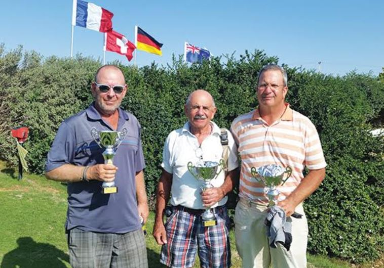 2015 Ga'ash Men's Club Championship winners (from left) Moshe Nessis, Dave Haskell and Ashley Silber