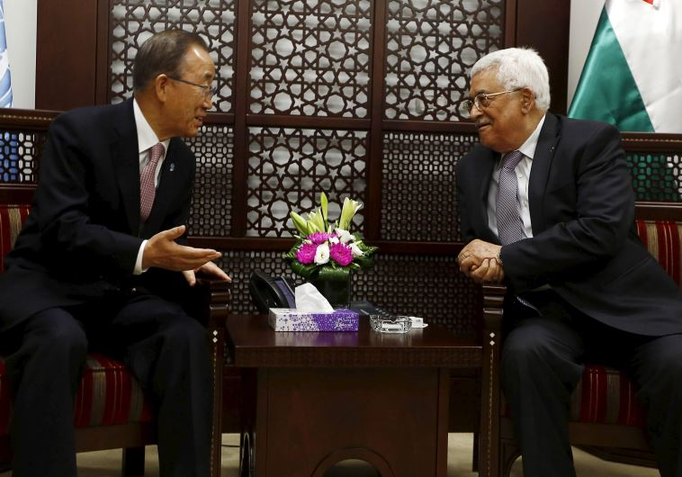 Palestinian Authority President Mahmoud Abbas (R) meets UN Secretary-General Ban Ki-moon in Ramallah