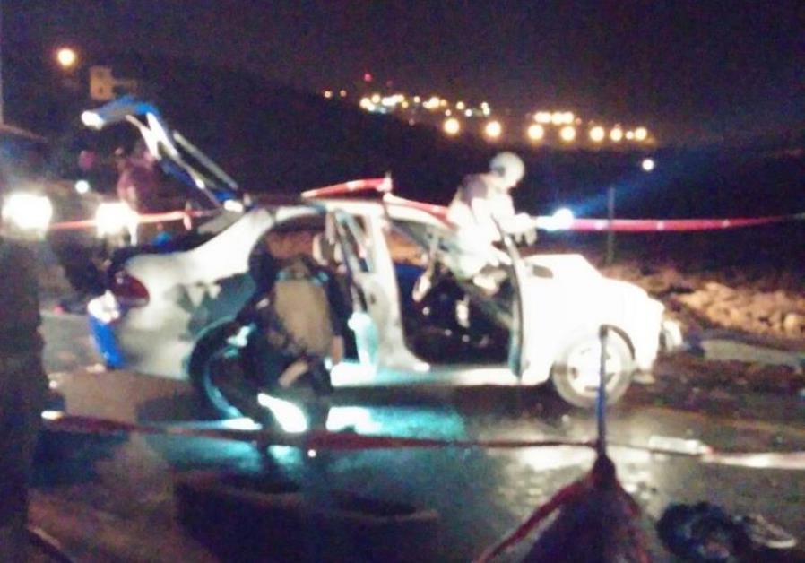 Scene of vehicular terror attack, West Bank, October 21, 2015