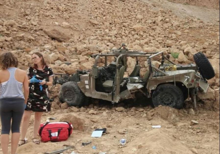 The overturned IDF jeep near the Dead Sea