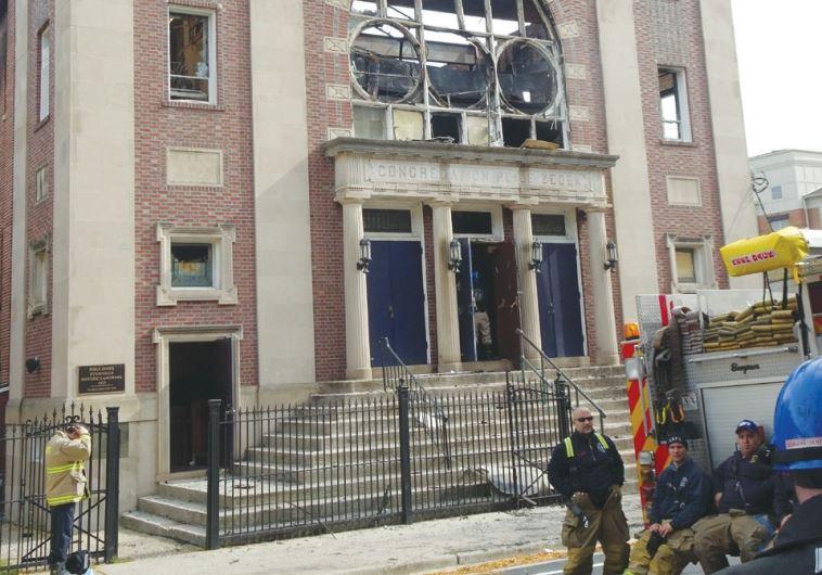 CONGREGATION POILE TZEDEK in New Brunswick, New Jersey, yesterday, after the blaze.