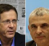 Zionist Union head Isaac Herzog (left) and Kulanu leader Moshe Kahlon