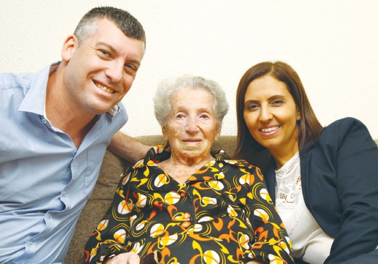 CENTENARIAN RIVKA GOZER gets a birthday visit from Social Equality Minister Gila Gamliel (right) and