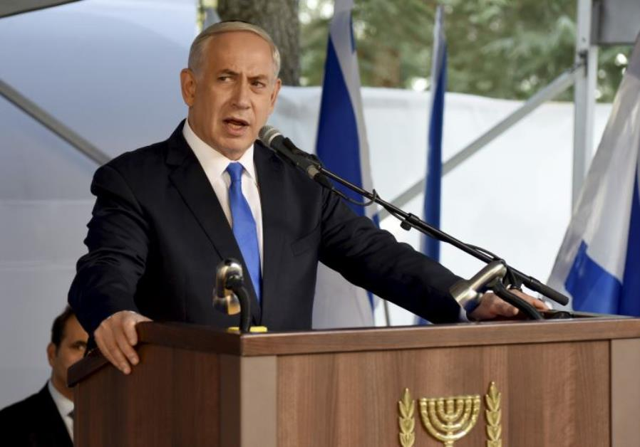 Prime Minister Benjamin Netanyahu delivers a speech during a memorial ceremony for Yitzhak Rabin