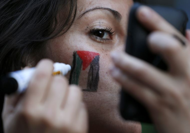 A member of the Palestinian community in Chile paints a Palestinian flag on her face