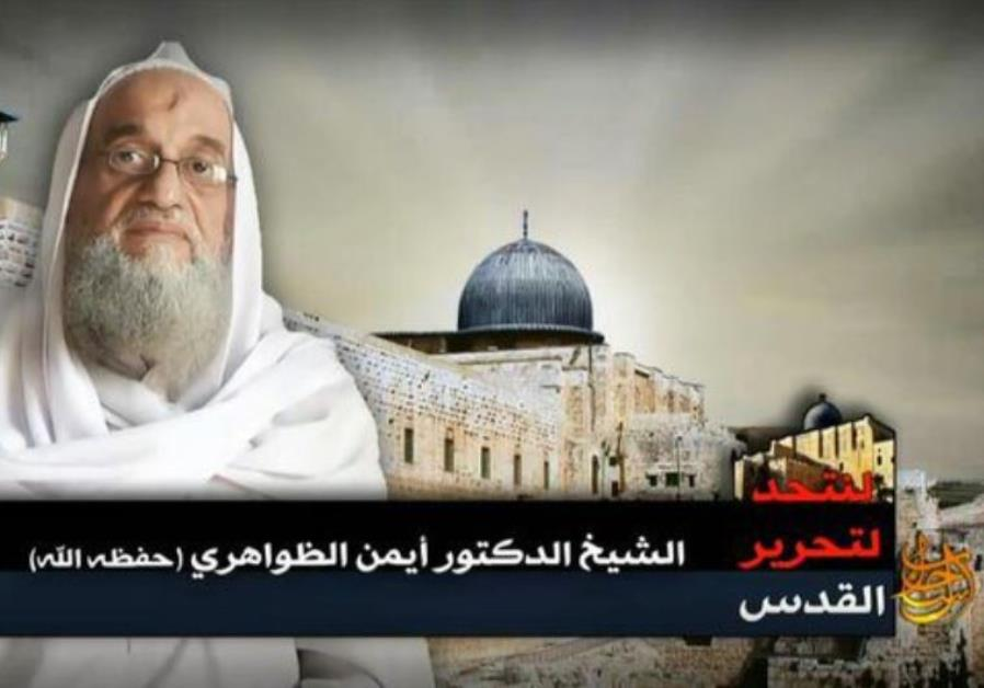 Screenshot from the audio-video recording 'To unit for the Liberation of Palestine' show's Zawahri s