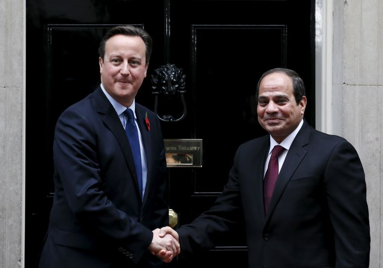 UK Prime Minister David Cameron with Egyptian President Abdel Fattah al-Sisi
