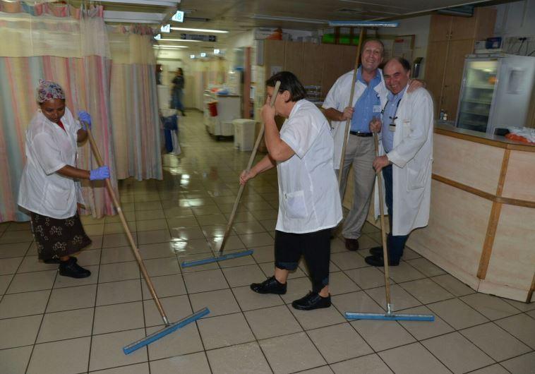 Flooded Barzilai Medical Center in Ashkelon, November 9, 2015