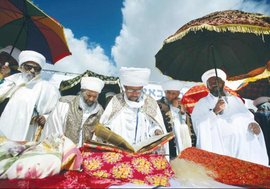 ETHIOPIAN-ISRAELI KESSIM celebrate the Sigd holiday in Jerusalem's Armon Hanatziv