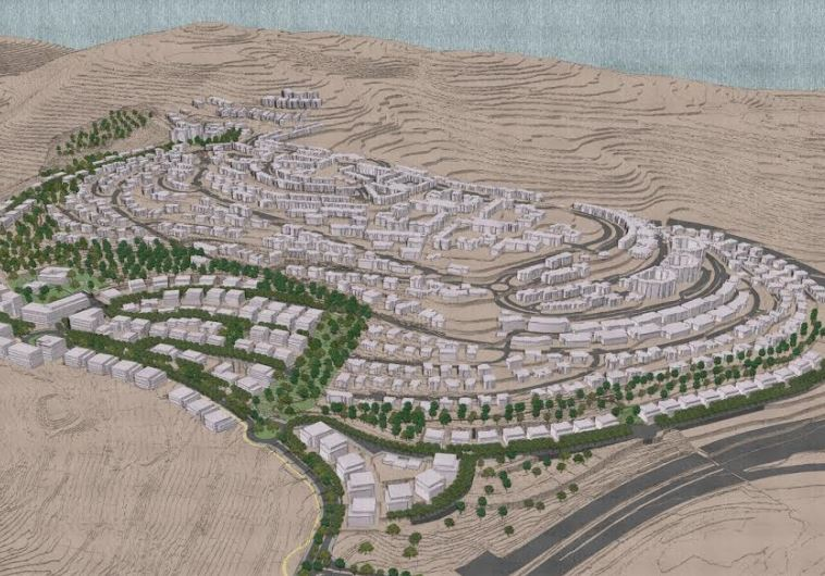 A renderings of the planned Ramat Slopes neighborhood