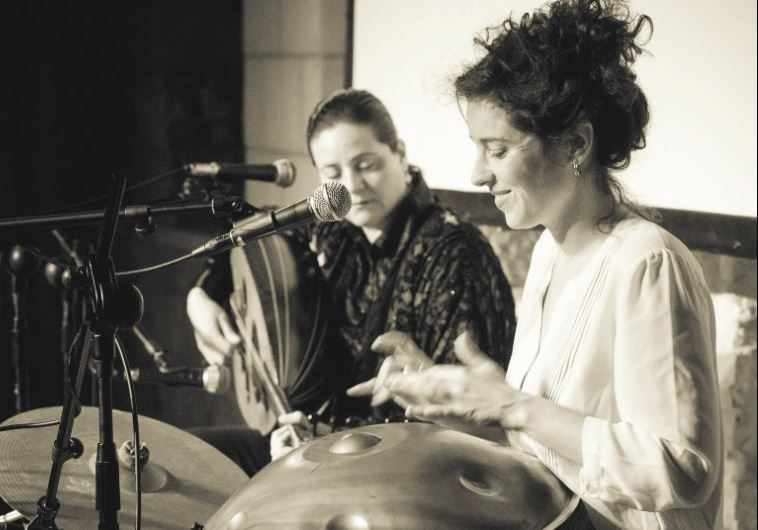 CHRISTIAN ARAB oud player Helen Sebilleh (left) joins forces with Israeli percussionist Liron Meyuha