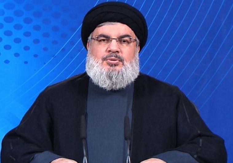 Hezbollah Secretary-General Hassan Nasrallah appears on Al-Manar television