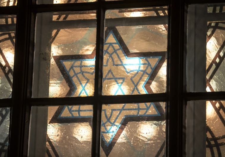 A window is pictured with the Star of David in a new synagogue in Cottbus, Germany