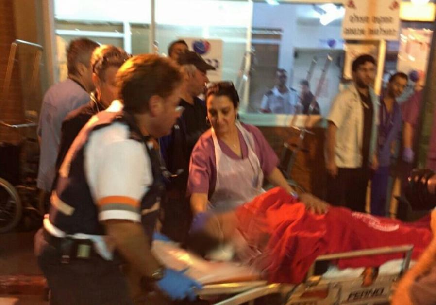 Magen David Adom at scene of Kiryat Gat stabbing, November 21, 2015