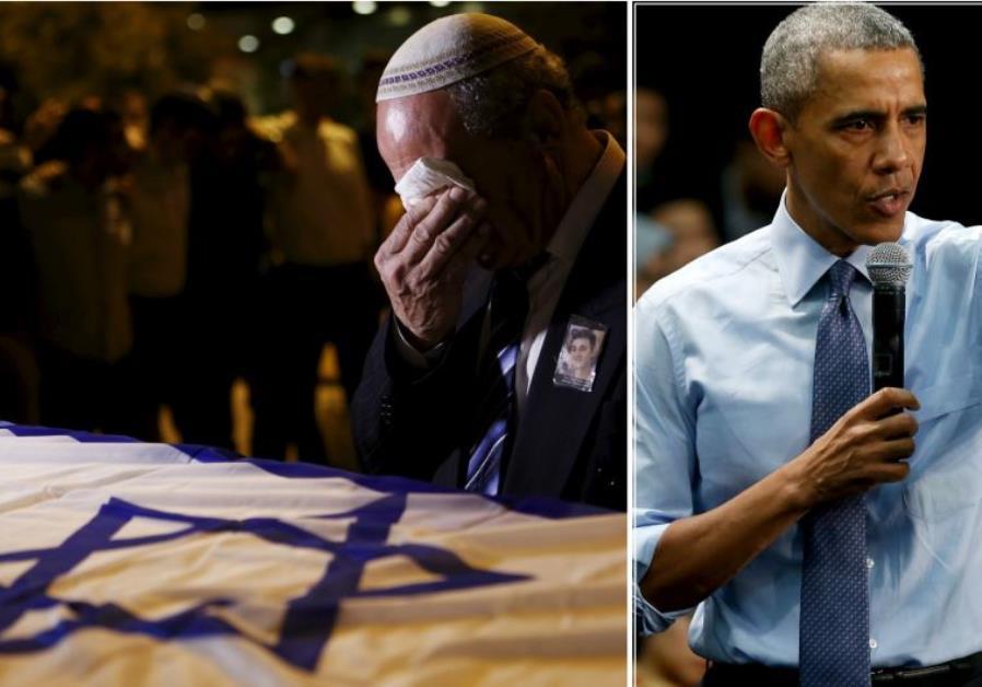 A man (L) weeps over the coffin of Ezra Schwartz; President Barack Obama