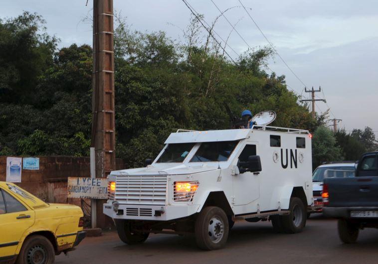 A UN armored vehicle patrols in Bamako, Mali, November 23, 2015.