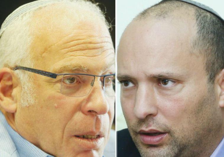 Bayit Yehudi's Uri Ariel (L) and Naftali Bennett