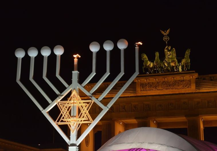 The Hanukka menorah at Brandenburg Gate in Berlin