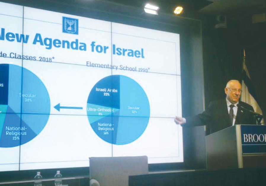 PRESIDENT REUVEN RIVLIN speaks Thursday at the Brookings Institution in Washington on the 'New Israe