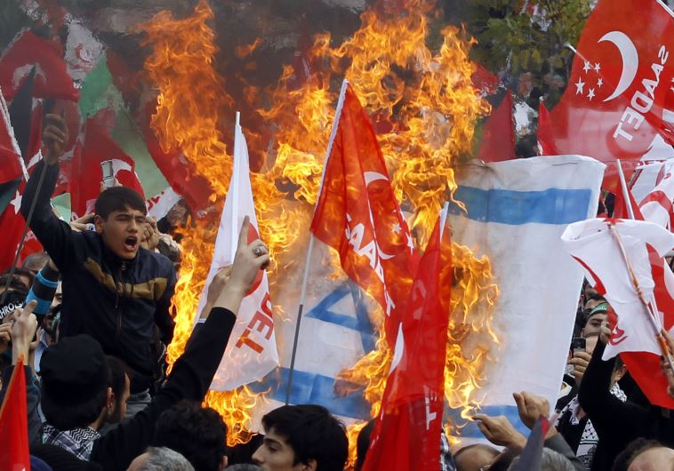 Turks stage an anti-Israel protest in Istanbul