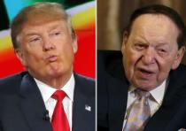 Donald Trump (L) and Sheldon Adelson