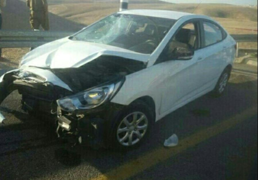 Car from vehicular ramming attack in West Bank, December 26, 2015
