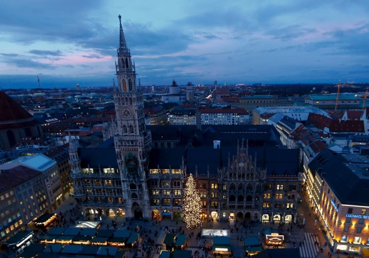 A view shows Munich's illuminated townhall and the Christmas market