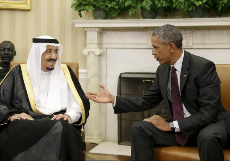 US President Barack Obama (R) welcomes Saudi King Salman to the White House