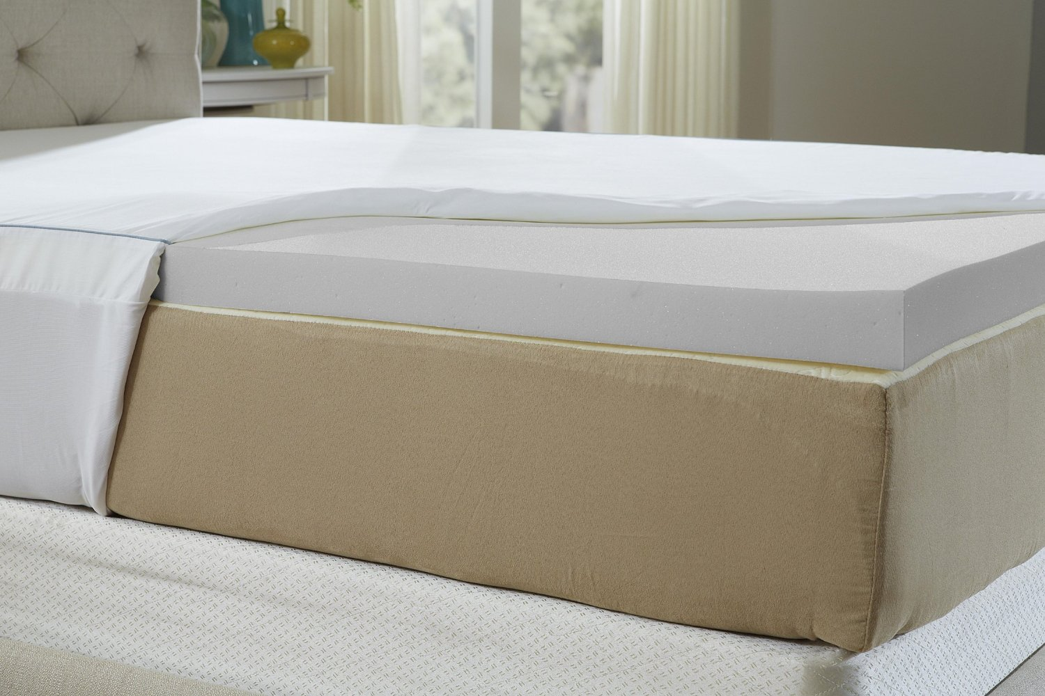Natures Sleep Cool IQ King Size 2.5 Inch Thick, 4.5 Pound Density Memory  Foam Mattress Topper with 18 Inch Fitted Cotton Cover: $219.99, Amazon