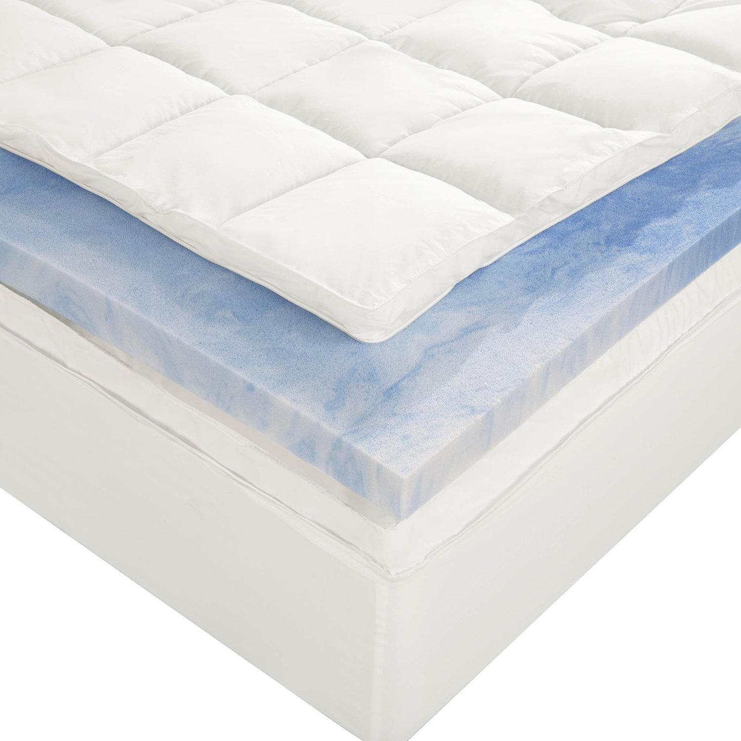 Sleep Innovations 4-Inch Dual Layer Mattress Topper - Gel Memory Foam and  Plush Fiber. 10-year limited warranty. Queen Size: $181.15, Amazon