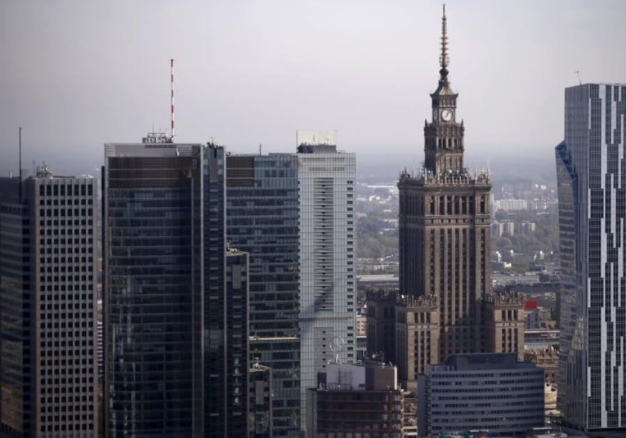 A general view of the cityscape, with the Palace of Culture and Science (2nd R), is pictured from th